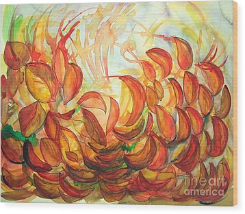 Dancing Leaves Wood Print by Vanda Sucheston Hughes