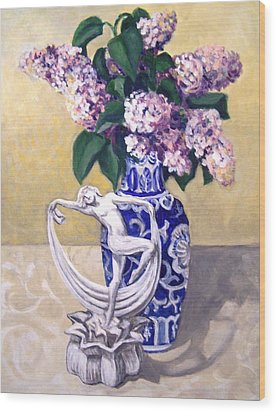 Wood Print featuring the painting Dancing Lilacs by Laura Aceto