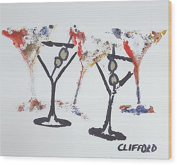 Dancing Martini's Wood Print by Cory Clifford