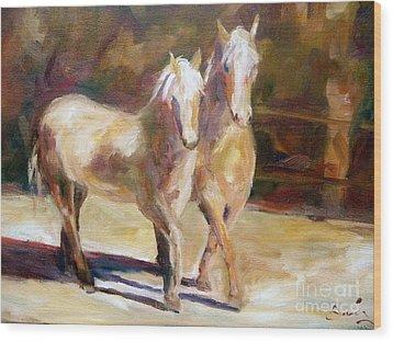 Dancing Palomino Horses Wood Print by Xx X