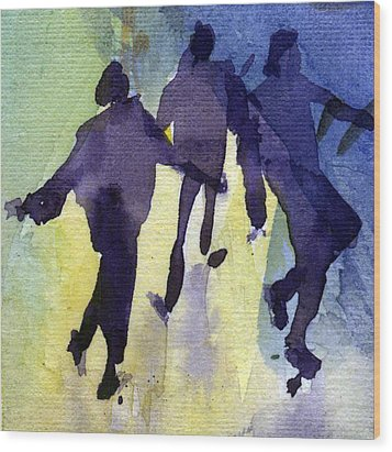 Dancing People Wood Print by Natalia Eremeyeva Duarte
