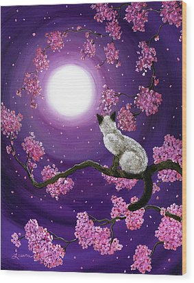 Dancing Pink Petals Wood Print by Laura Iverson