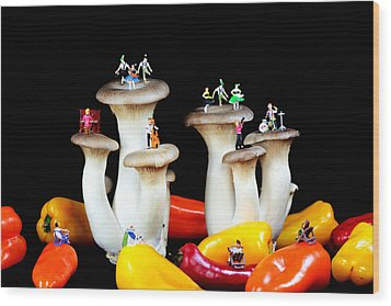 Dancing Show On Mushroom Wood Print by Paul Ge