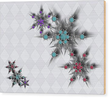 Dancing Snowflakes Wood Print