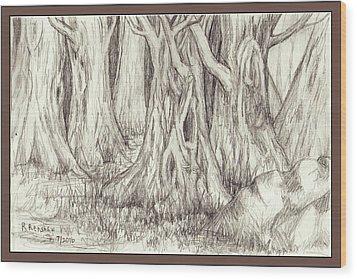 Dancing Trees Wood Print by Ruth Renshaw