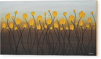Wood Print featuring the painting Dancing Tulips by Carmen Guedez