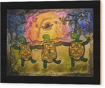 Dancing Turtles Wood Print