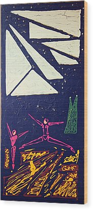 Wood Print featuring the mixed media Dancing Under The Starry Skies by J R Seymour