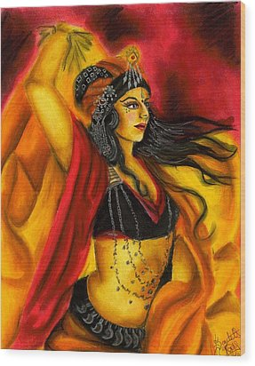 Dancing With Fire Wood Print by Scarlett Royal