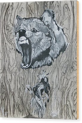 Dancing With The Spirit Of The Wolf Wood Print by KeMonee Casey