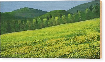 Wood Print featuring the painting Dandelion Bloom by Frank Wilson