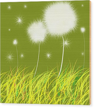 Dandelions Are Free Wood Print by Oiyee At Oystudio