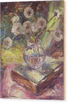 Dandelions Flowers In A Vase Sunny Still Life Painting Wood Print by Svetlana Novikova