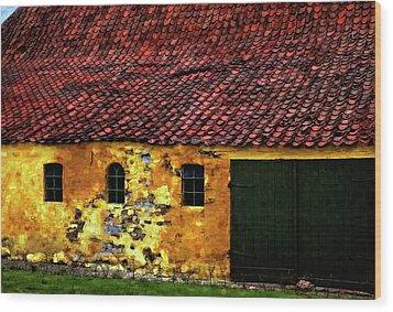 Danish Barn Watercolor Version Wood Print by Steve Harrington