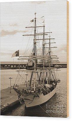 Danish Training Ship Wood Print by Gaspar Avila