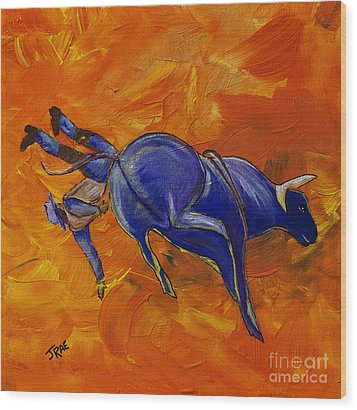 Wood Print featuring the painting Danny At The Rodeo by Janice Rae Pariza