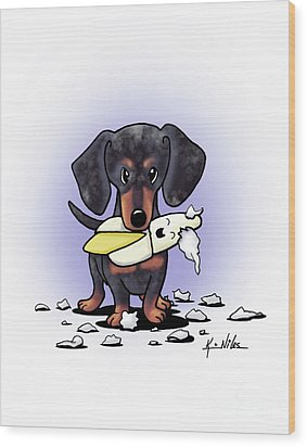 Dapple Doxie Destroyer Wood Print by Kim Niles