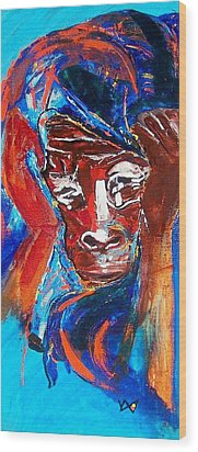 Darfur - She Cries Wood Print by Valerie Wolf