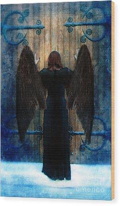Dark Angel At Church Doors Wood Print by Jill Battaglia