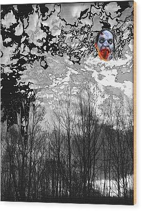 Dark Black Wood Print by Lee M Plate