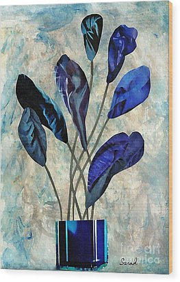 Dark Blue Wood Print by Sarah Loft