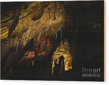 Dark Cave Wood Print by Oscar Moreno