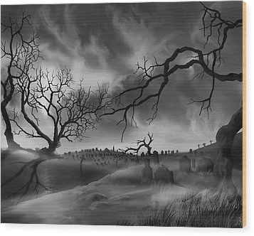 Wood Print featuring the painting Dark Cemetary by James Christopher Hill