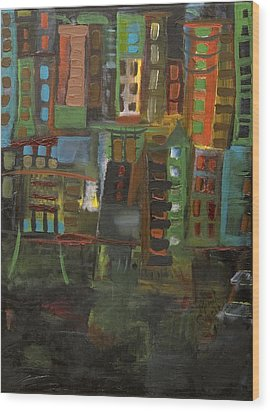 Dark City Wood Print by Maria Curcic