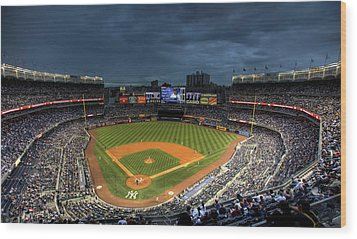 Dark Clouds Over Yankee Stadium  Wood Print by Shawn Everhart