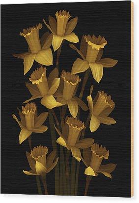 Dark Daffodils Wood Print by Marsha Tudor