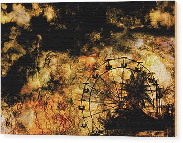 Dark Ferris Wheel Wood Print