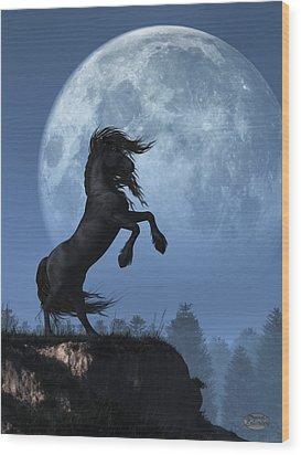 Wood Print featuring the digital art Dark Horse And Full Moon by Daniel Eskridge