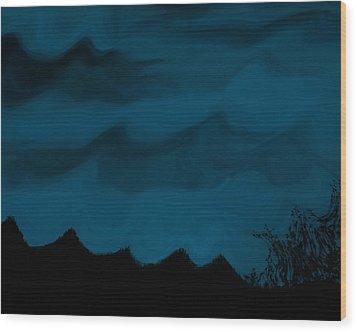 Dark Is The Night Wood Print