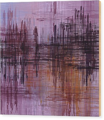 Wood Print featuring the painting Dark Lines Abstract And Minimalist Painting by Ayse Deniz