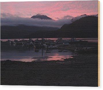 Dark Pink Sunset Wood Print