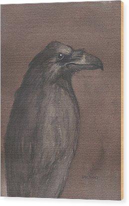 Dark Raven Wood Print