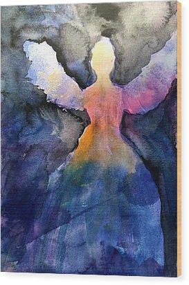 Dark Skies Angel Wood Print by Jeanne MCBRAYER