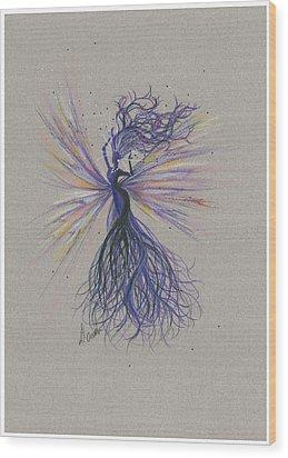 Wood Print featuring the drawing Dark Streak Strut.. by Dawn Fairies