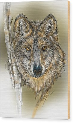 Wood Print featuring the digital art Dark Wolf With Birch by Darren Cannell