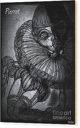 Darkness Clown Wood Print
