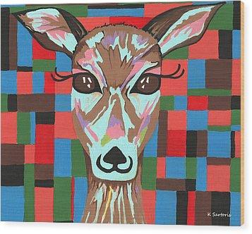 Wood Print featuring the painting Darling Deer by Kathleen Sartoris