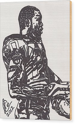 Wood Print featuring the drawing Darren Mcfadden 1 by Jeremiah Colley