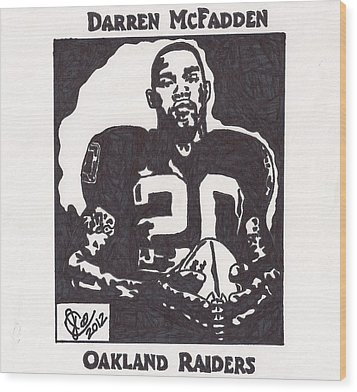 Wood Print featuring the drawing Darren Mcfadden 2 by Jeremiah Colley