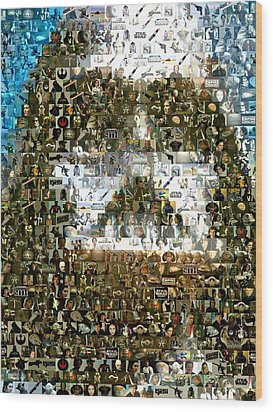 Darth Vader Mosaic Wood Print by Paul Van Scott