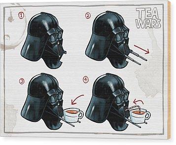 Wood Print featuring the digital art Darth Vader Tea Drinking Star Wars by Martin Davey