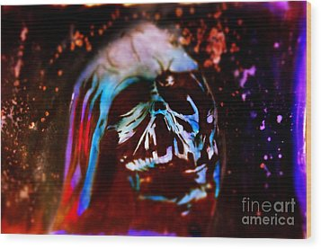 Darth Vader's Melted Helmet Wood Print by Justin Moore