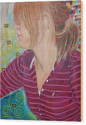 Wood Print featuring the painting Das Girl by Kevin Callahan