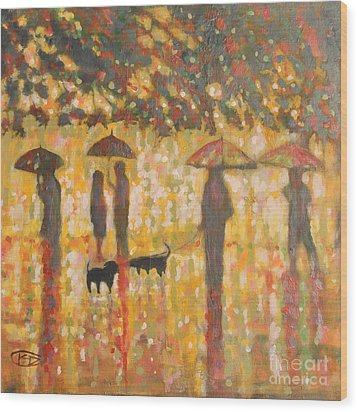 Daschunds In The Rain Wood Print by Kip Decker