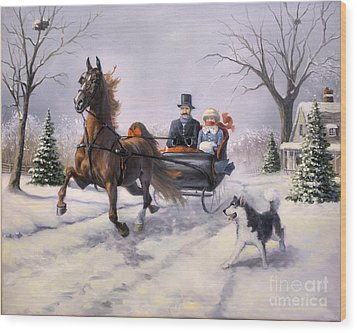 Dashing Through The Snow  II Wood Print by Jeanne Newton Schoborg