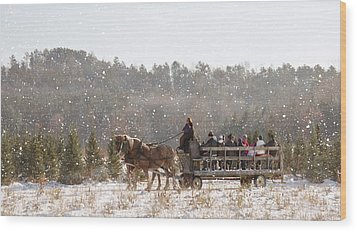 Dashing Through The Snow Wood Print